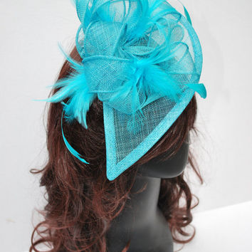 Turquoise Fascinator, Tea Party Hat, Church Hat, Kentucky Derby Hat, Fancy Hat, Turquoise Hat, Wedding hat, British Hat, Royal Hat