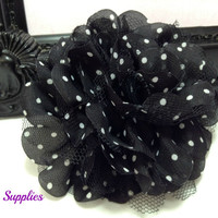 Black white polka dot chiffon flower - diy supplies - fabric flowers - wholesale flowers - hair bow supplies - flower supplies