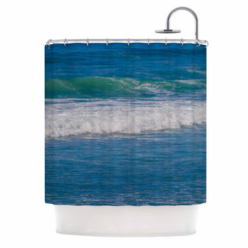 "Nick Nareshni ""Solana Beach Rolling Waves"" Blue Coastal Shower Curtain"