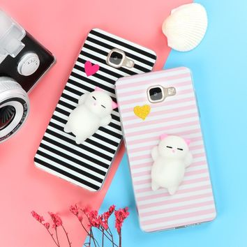 Funny Cute Cat Squishy Phone Case for Samsung Galaxy J3 J5 J7 A3 A5 A7 A8 2016 2017 2018 S6 S7 edge S8 S9 Plus Soft TPU Cartoon