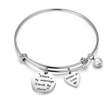 ZUOBAO Sister In Law Gift Sisters by Marriage Friends by Choice Wedding Gift Bangle Bracelet Expandable Charm Bracelet