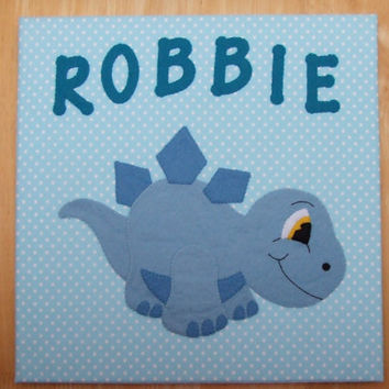 Handmade Felt Fabric Personalised Baby Stegosaurus Art Nursery Decor Wall Art Canvas Picture Wall Hangings Baby Gift