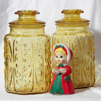 Kitchen Canisters1970s Harvest Gold Glass Canister Scroll design 9 inch size Vintage Kitchen Storage