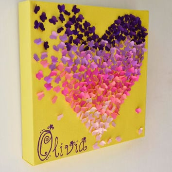 Personalized Ombre Butterfly Heart/ 3D Butterfly Wall Art / Nursery Decor / Personalized Children's Art - Made to Order