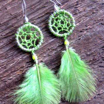 Dream Catcher Earrings Neon Green Bohemian Jewelry