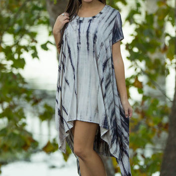 Live And Let Tie Dye Dress-Grey
