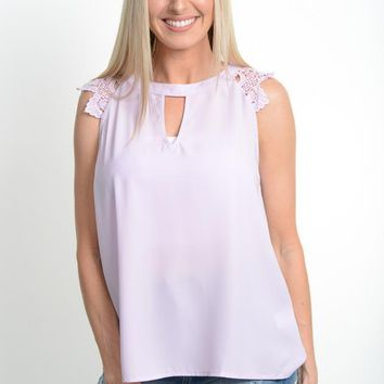 Lavender Lace Sleeveless Top