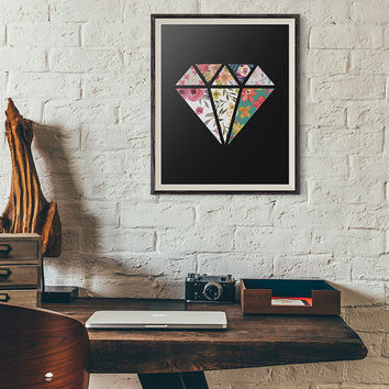 Wall Art Print, Wall Decor, diamond floral Flower abstract art, printable art, dorm room decor, nursery wall art, Fower Design