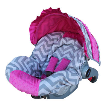 Infant Car Seat Cover Ships Today Gray Chevron With Hot Pink Mi