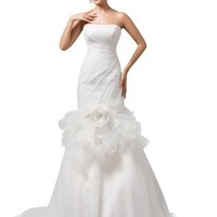 Dressystar Mermaid Strapless Wedding Dresses Gowns Lace-up Back