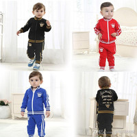 New Arrivals 2014 Baby Kids Toddler Activewear Crown Cotton Casual Sweat Suit Sports Clothing Clothes For Spring/Autumn 4set/lot