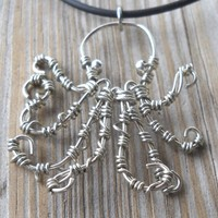 Silver Wire Octopus Pendant Necklace | pavlos - Jewelry on ArtFire