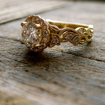 Round Brilliant Cut Diamond Engagement Ring in 18K Yellow Gold with Vintage Inspired Flower Buds on Vine Motif and Satin Finish Size 5.5