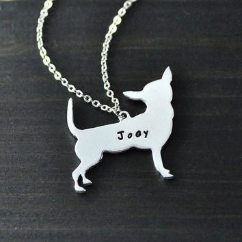 Personalized Chihuahua Necklace, Silver Dog Necklace, Custom Name Pet Jewelry