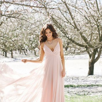 Petite Cassidy Blush Flowy Maxi Dress
