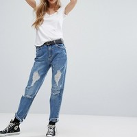 Pull&Bear Distressed Slogan Stitching Mom Jeans at asos.com