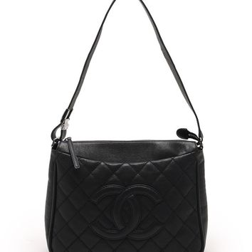 CHANEL MATELASSE CC Mark logo SAC CAMERA shoulder bag leather black 06A
