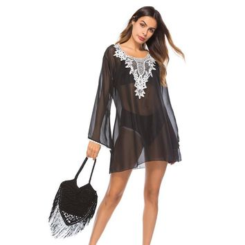 Black Sheer w/ Lace Edge V-Neck Beach Sun Dress Cover Up Resort Wear