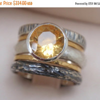 SALE 10% OFF citrine ring engagement ring wedding band set of 5 rings november birthstone 14k yellow gold rings st silver bridal jewelry