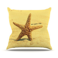 "Robin Dickinson ""Once upon a Time"" Starfish Outdoor Throw Pillow"