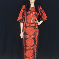 Vintage 60s Black Mod Heavy Cheesecloth Aztec Orange Embroidered Psychedelic Kaftan Dress M