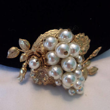 Miriam Haskell Brooch Cascade Cluster Baroque Pearl Flower & Leaf Gold Plate Pin