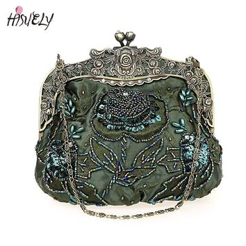 2018 New Vintage Beaded Evening Bag Embroidered Bag Diamond Sequined Clutch Hand Bag Bride Bag  Free Shipping