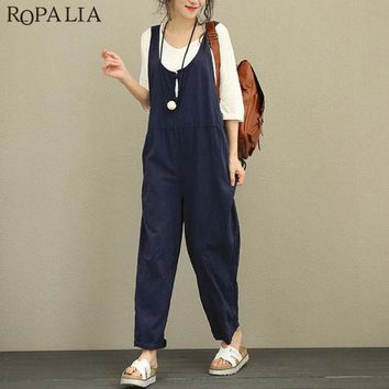 ROPALIA Casual Rompers Womens Jumpsuits Fashion Womens Loose Strapless Playsuits Oversized Casual Dungaree Harem Bodysuits