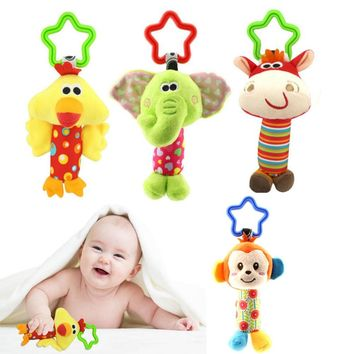 Children Plush Toys Cute Cartoon Animal Hanging Bed Crib Stroller speelgoed Dolls Rattles Baby Kids baby toys 0-12 months
