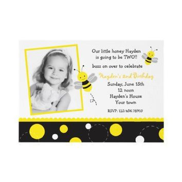 Bumble Bee Photo Birthday Party Invitations from Zazzle.com