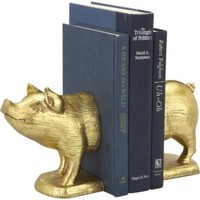 Gold Pig Bookends Set Of 2