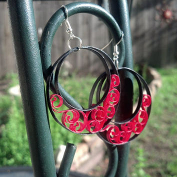 Paper Quilled Earrings Large Round Filigree - Black and Red - quilling paper jewelry, paper earrings, hoop earrings, eco friendly, gift idea