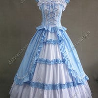 Victorian Gothic Lolita Cotton Dress Ball Gown Prom 085 XXL