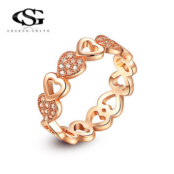 G&S Brand Gold Plated Classic Simple Design Ring Heart Solitaire 1ct Zirconia Diamond Womens Elegant Loving Wedding Party Rings