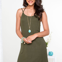 Liv Basic Dress - Olive