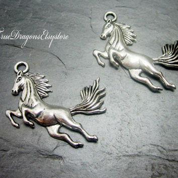 2 Silver Horse Charm Pendants Jumping Racing Horses Beautiful Large 115A