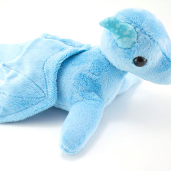 Light Blue Dragon Stuffed Animal, Plushie, Plush Toy