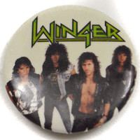Vintage 80s Winger Pinback Button Pin Badge