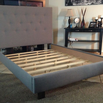 King headboard and bed frame Gray Linen upholstered or cal king