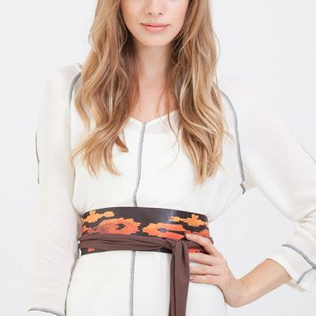 Wide Leather Belt in Brown with Burn Orange Aztec Block Print One Size Fits All