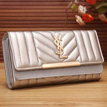 YSL Yves Saint Laurent Women Fashion Shopping Leather Buckle Wallet Purse-5
