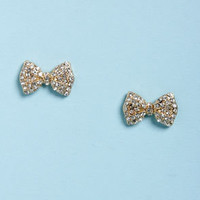 Bow-d Certified Gold Rhinestone Bow Earrings