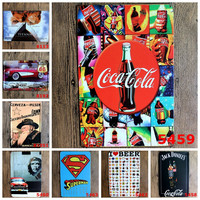 Jack Daniel Coca-Cola Titanic Superman I Love Beer Corvette Barcelona Man Cave Beer Whisky Tavern Decor Retro Metal Art Poster