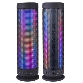 Color Dancing Portable Bluetooth Speaker (9.25 Tall) w/LED Visual Equalizer, 3.5mm Audio Input & microSDHC Card Slot