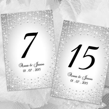 DIY Printable Wedding Table Number Template | Editable MS Word file | 4 x 6 | Instant Download | Silver Diamond Shower