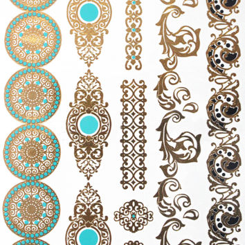Temporary Tattoo Environmental Gold And Silver Waterproof Exotic Metallic