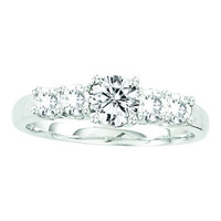 Diamond Bridal Ring with 0.50ct Center Round Stone in 14k White Gold 1 ctw
