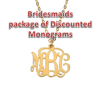 Bridesmaids Package of Discounted Small Yellow Gold plated Silver Monogram Necklace 20% off
