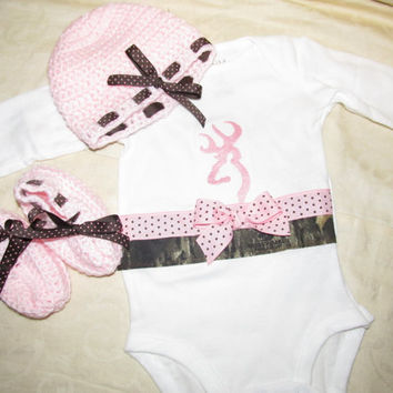 Custom Handmade browning inspired camo camouflage pink Onesuit with crocheted hat and matching booties