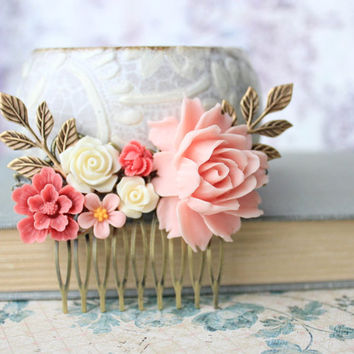 Pink Rose Comb Big Pink Rose Coral Flower Comb Wedding Accessories Floral Comb Country Shabby Chic Bridal Bridesmaids Accessories Gifts